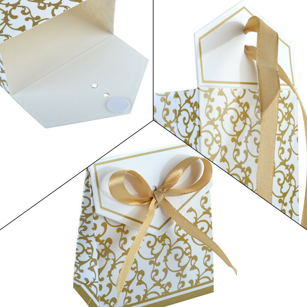 2017new 100pcs Gold Ribbon Wedding Favour Sweet Cake Gift Candy ...