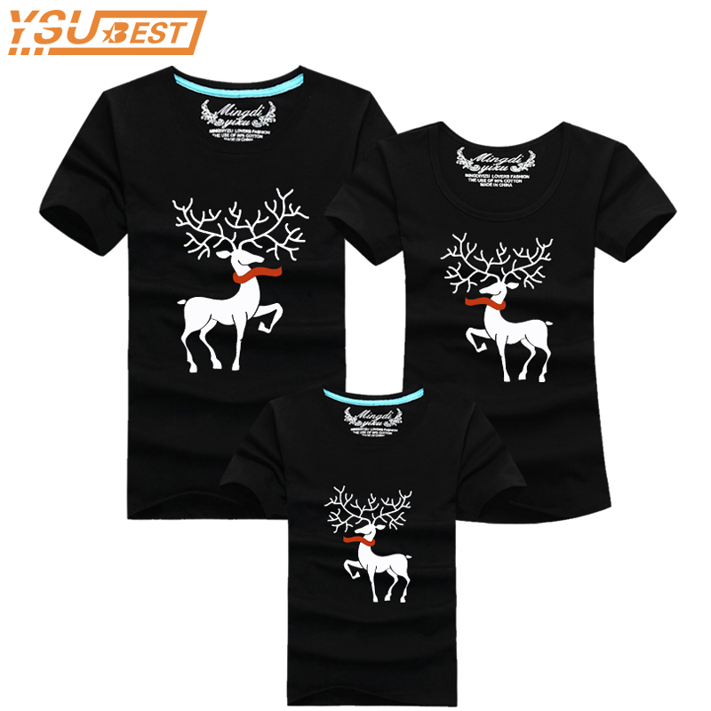 Ming Di Christmas Family Matching Outfits T-shirt More Color Milu Deer Matching Family Clothes Mother Father Baby Short Sleeve ming di 5h 806