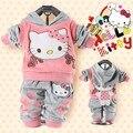 БЕСПЛАТНАЯ ДОСТАВКА РОЗНИЧНАЯ ребенок 2 piece костюм комплект девушки Hello Kitty одежду устанавливает velvet Спортивные костюмы с капюшоном куртки + брюки # Y1279