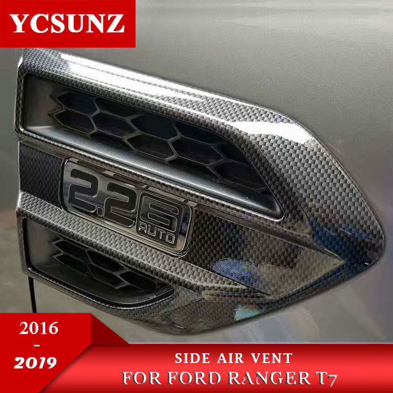 ABS Carbon Fiber Side Fender Guards Vent Cover Trim For FORD RANGER T7 T8 2016-2019 Wildtrack