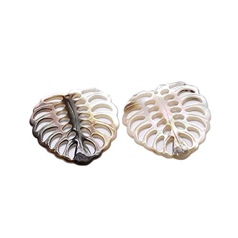 5pcs Leaf Black Lip Shell Pendants Seashell Charms For Jewelry Making And Crafting, 30x29x2.5mm, Hole: 1mm F80