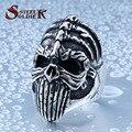 De acero soldado diablo cráneo punky lengua larga exquisita joyería de acero inoxidable anillo de los hombres de la vendimia