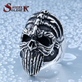 steel soldier devil punk skull long tongue vintage men ring stainless steel exquisite jewelry