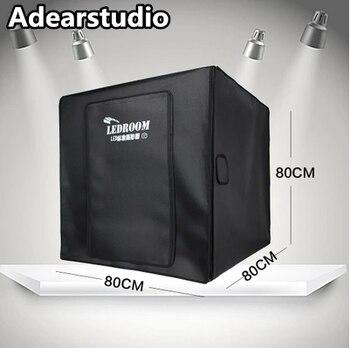 80x80 см Бесплатная доставка фото палатка стол Фотография Мягкая коробка комплект со светодиодной подсветкой высокая отражающая ткань внутр...