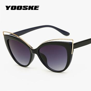 YOOSKE de la marca de ojo de gato gafas de sol mujer doble de ojo de gato  gafas de sol damas Sexy Vintage gafas UV400 tonos d98b35702f81