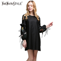 TWOTWINSTYLE Women Black Blouse Dress Round Neck Ruffles Lace Up Embroidery Floral Lantern Sleeve Loose
