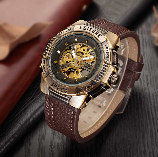 499a0ec0dd5 SHENHUA Esqueleto Bronze Relógio Mecânico Homens Relógio Automático Esporte  Relógio Top De Luxo Da Marca Relogio