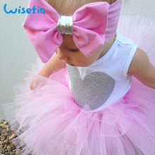 Wisefin Bebek Kız Prenses Giyim Seti Yaz Bebek Bodysuit Kolsuz + Yay Bandı + Tutu Etek Yenidoğan Toddler Giysileri Kıyafetler
