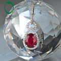 2.75ct 7x9mm Oval Red Blood Ruby Natural Diamond 14k White Gold Engagment Pendant free shipping
