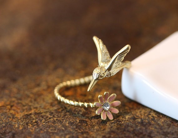 Newest Listed Humming Bird Flower Ring Women's Girl's Animal Ring Jewelry Adjustable Wrap Ring gift idea