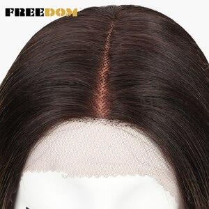 Image 5 - חופש סינטטי תחרה מול פאות עבור נשים שחורות קצר ישר Ombre חום בלונדיני 10 אינץ סיבי טמפרטורה גבוהה סינטטי פאות