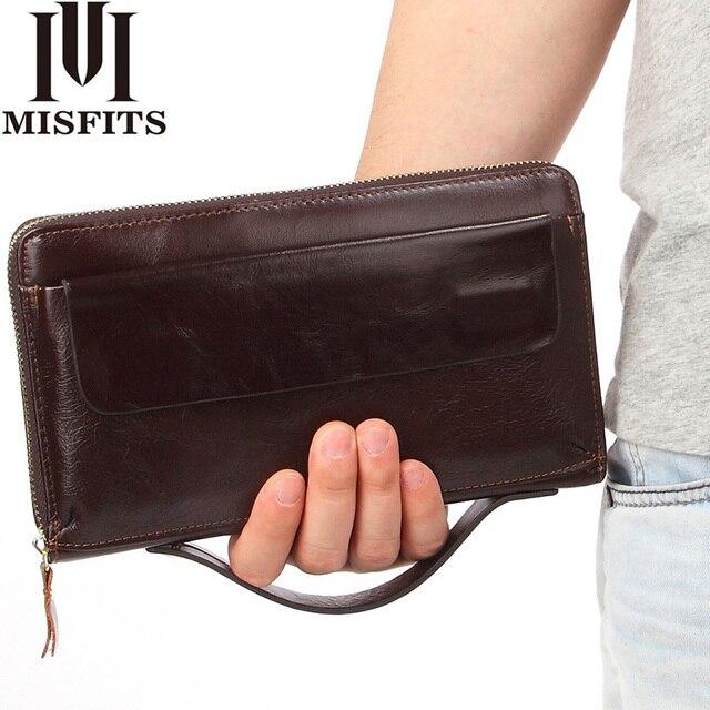 125a9a669 Misfits lujo cuero genuino del bolso de embrague cremallera larga cartera  zurriago masculino Bolso grande capacidad