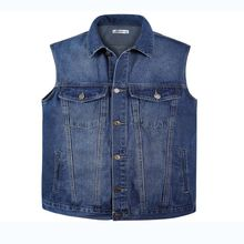 new Men Denim Vest Spring and Summer Autumn Cowboy Sleeveless Male Waistcoat Short Style Mens Vests Outerwear Designer