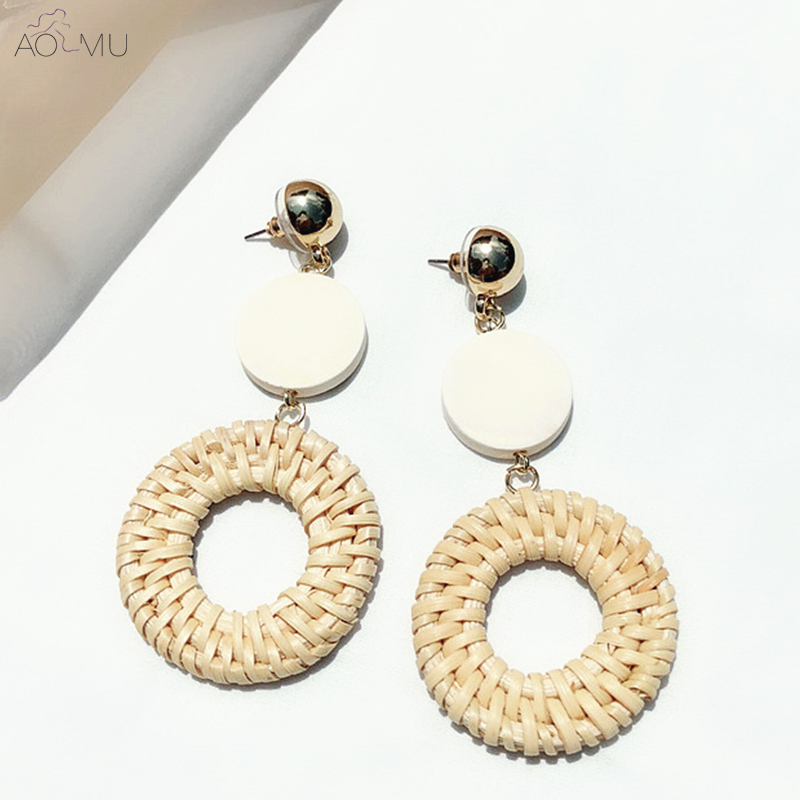 US $3.43 14% OFF|AOMU New Design 2018 Metal Ball Round Wooden Straw Weave Rattan Vine Geometric Big Circle Long Drop Earrings for Women Girl-in Drop Earrings from Jewelry & Accessories on Aliexpress.com | Alibaba Group