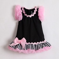 Hot Sale Top grade baby girls dress ruffle sleeve Zebra striped 100% cotton infant dress for party and wedding