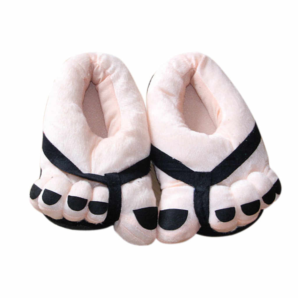 Winter Funny Cute Soft Velvet Cartoon Big Feet Warm Home Floor Slippers Indoor Winter  No Slip Floor Slipper for Men Women