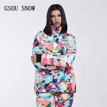GSOU SNOW women's Ski suit -35 degree low Degree Women's Snowboard Jacket Winter Coats Waterproof Breathable Colorful Skiwear