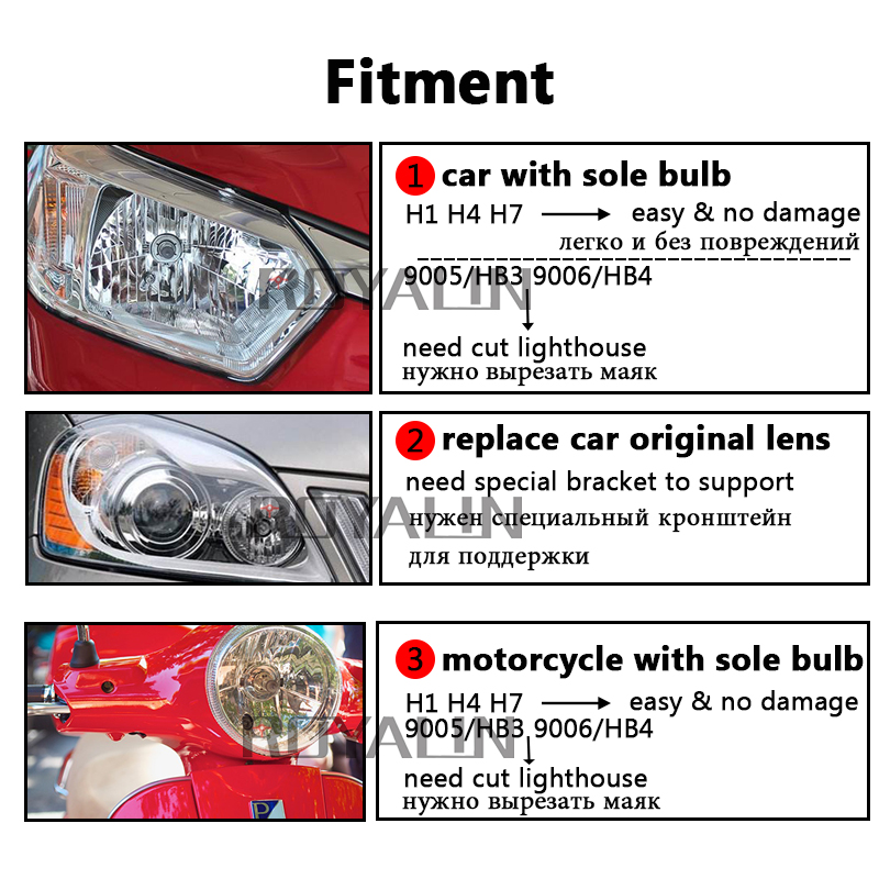 ROYALIN Bi Xenon Φακός HID H1 H1 Mini προβολέα 2.5 '' - Φώτα αυτοκινήτων - Φωτογραφία 4