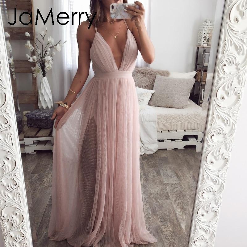 JaMerry Strap Striped Mesh Lace Split Women Dress Sexy Deep V Neck Backless Maxi Dress Autumn Winter Long Party Dress Vestidos