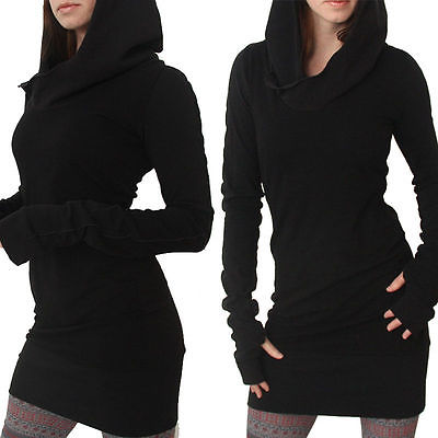 Hoodie Dress Women Hoodies Sweatshirt Dress Lady Black Clothes Casual Spring Fall Hoody Bodycon Long Sleeve Mini Dress Brief