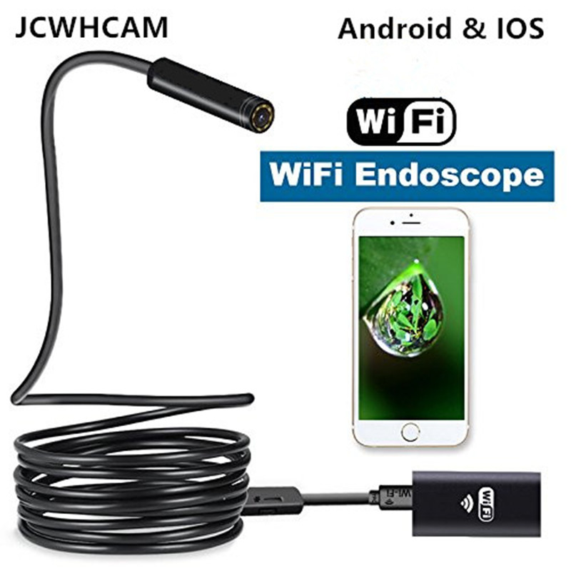 JCWHCAM 720P WiFi Endoscope Mini Camera 8mm Lens 1/3/5/7/10m Snake Flexible Cable Inspect Pipe Car For IOS And Android device