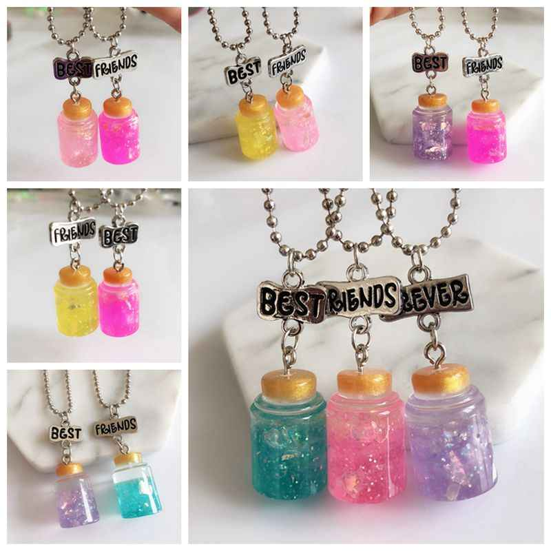 New Fashion 1set Simulation Colorful Honeypot Pendant Best Friends Necklace BFF Food Chain Necklace Children Jewelry Gift,
