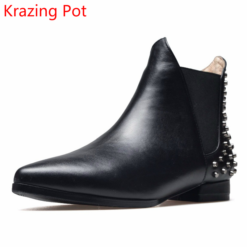 New Arrival Genuine Leather Pointed Toe Fashion Winter Boots Rivets Thick Heel Slip on Chelsea Boots Handmade Ankle Boots L93  new arrival genuine leather pointed toe fashion winter boots rivets thick heel slip on chelsea boots handmade ankle boots l93