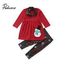24868a48ac58 1-6Y Toddler Kids Baby Girl Christmas Clothes Snowman Long Sleeve Mini Dress  Tops+Snowflake Pant Legging Scarf 3PCS Clothing Set