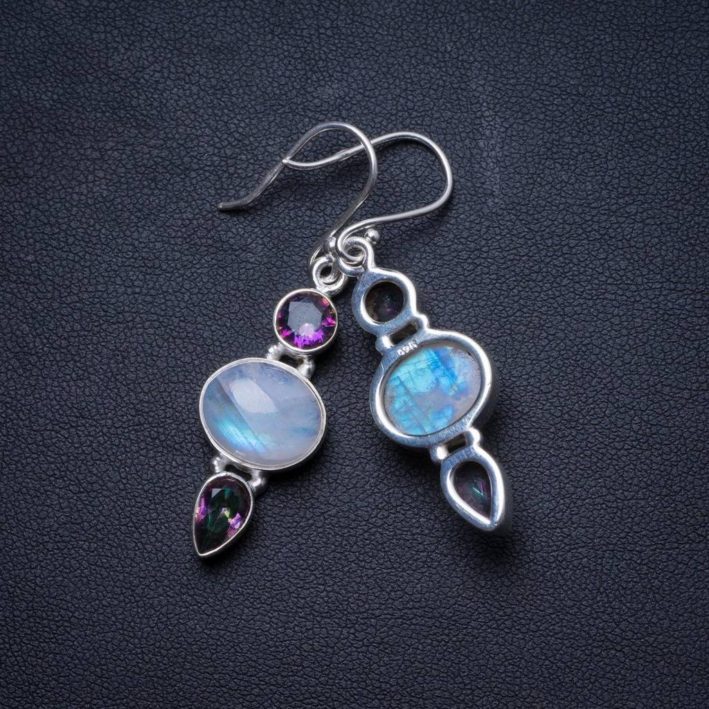 Natural Moonstone and Mystical Topaz Handmade Unique 925 Sterling Silver Earrings 1.75