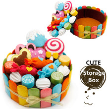 Felt Handmade Birthday Cake Storage Box For Kid and Girlfriend Special Gift DIY Cute Cake Collection Box Craft Kits for Children c storybooks 4 special cake