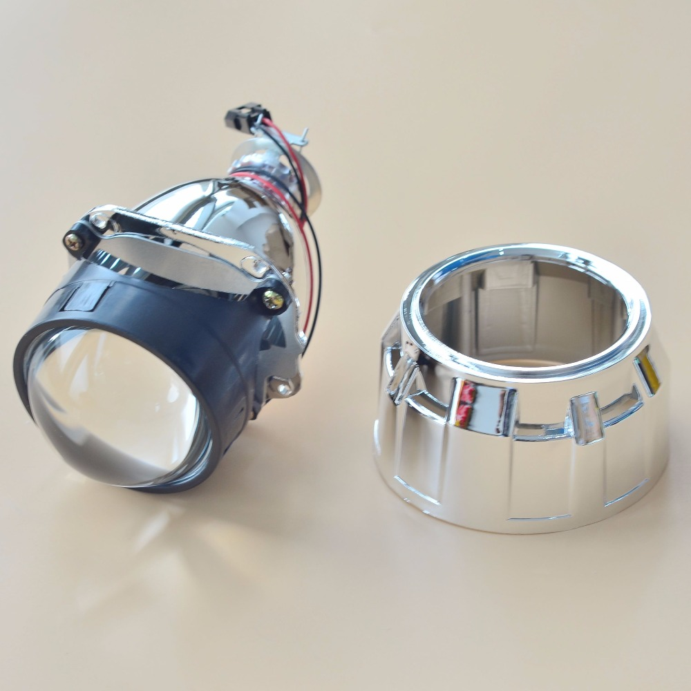 HOT 2014 Car Accessories Car Styling Retrofit 2.5 H1 HID Bi-Xenon Headlight Projector Lens With Mini Gatling Gun Shroud