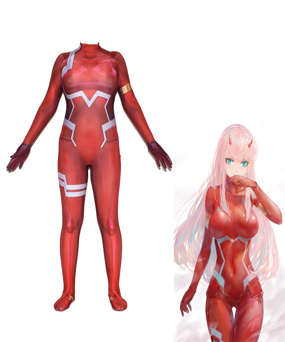 Anime 3D DARLING in the FRANXX 02 Zero Two Cosplay Costume Halloween Jumpsuits Zentai Bodysuit Suits