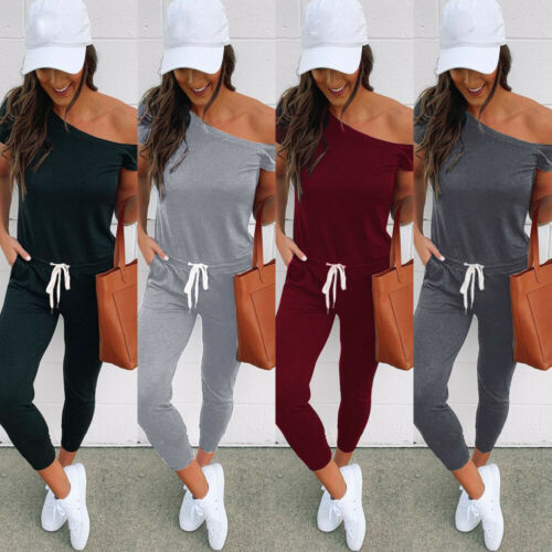 New Casual Simple Womens Off Shoulder Solid Color Slim Playsuit Bodycon Short Sleeve   Jumpsuit