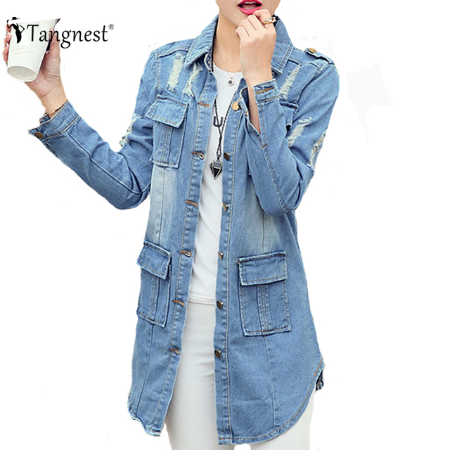 TANGEST Women Jackets 2016 Spring Autumn Slim Preppy British Casual Style Hole Denim Long Sleeve Turn-Down Collar Jacket WWJ663