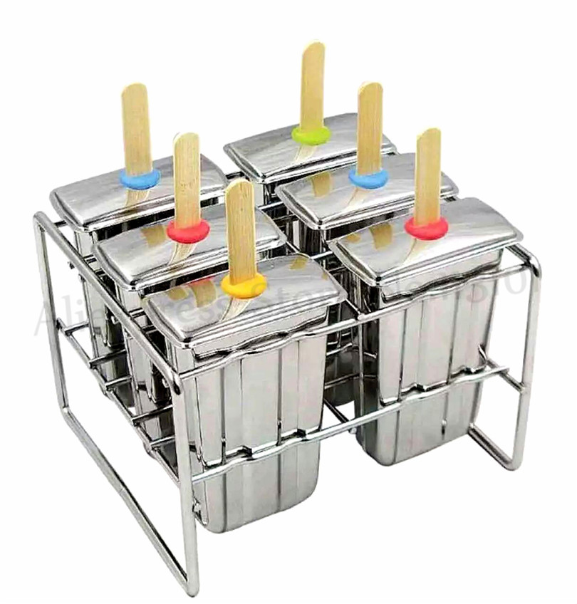 Ice Cream Pop Mold Home DIY Popsicle Lolly Mould 6pcs/Batch 304 Stainless Steel Kitchen Tools Robot Welds SeamlesslyIce Cream Pop Mold Home DIY Popsicle Lolly Mould 6pcs/Batch 304 Stainless Steel Kitchen Tools Robot Welds Seamlessly