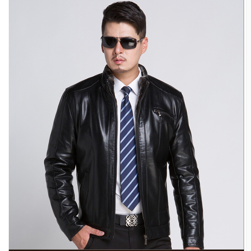 2015 Winter leather font b jacket b font font b Men b font Fur Coat Male