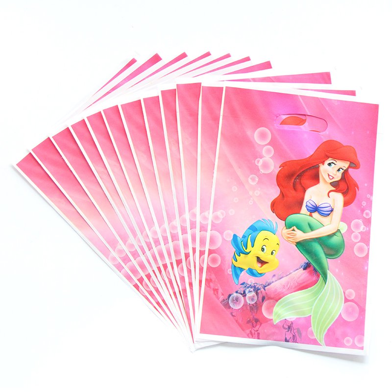 10pcs/lot Pink Little Mermaid Theme Cartoon Plastic Gift Bag Baby Shower Happy Birthday For Kids Gift Party Decoration Supplies 10pcs/lot Pink Little Mermaid Theme Cartoon Plastic Gift Bag Baby Shower Happy Birthday For Kids Gift Party Decoration Supplies