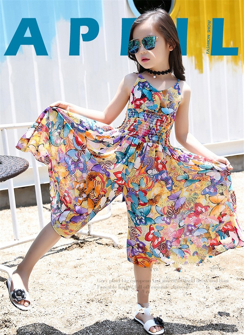 2017 New Bohemian Style Children 39 S Dress Girl Summer Floral Wide Leg Pants Jumpsuit Girls