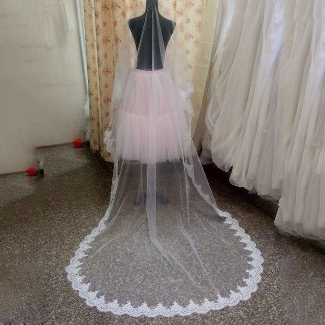 Veu De Noiva Layer one White Ivory Bridal Veil Chapel length 270cm Lace Edge Wedding Accessories Veils Velos De Novia