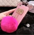 Diy luxo cristal mickey orelhas macias casos tpu telefone para iphone 6 6 S 6/6 S Plus transparente Back Cover Capa Com Pele bola & chain