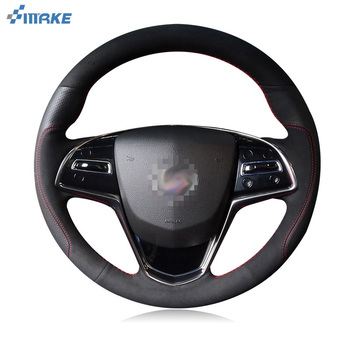 smRKE For Cadillac ATS-L CTS SRX CT6 XT5 Steering Wheel Cover DIY Hand-stitched Car Interior Case Top Leather
