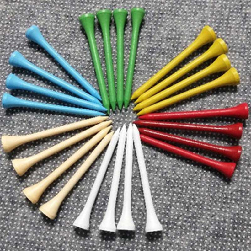 Hot Sale 100 Pcs/bag Bright 70mm Wooden Golf Training Ball Tees Wood Nails Balls Support Holder Golf Training Aids Accessories