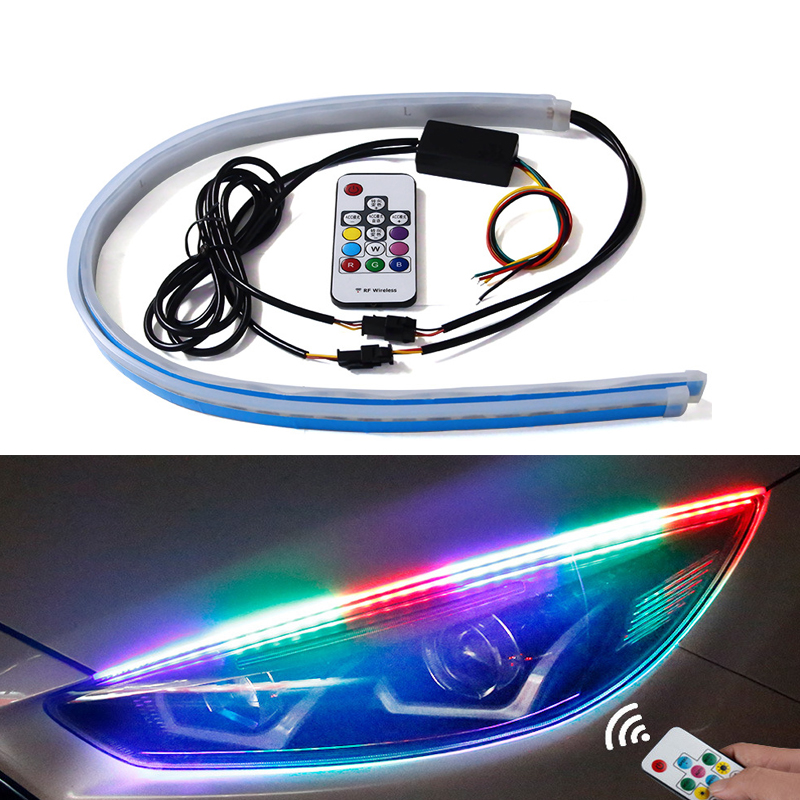 1set New Slim RGB Flowing Sequential Flexible LED DRL For Headlight Strip Daytime Running Lights with Remote Control 30/45/60cm