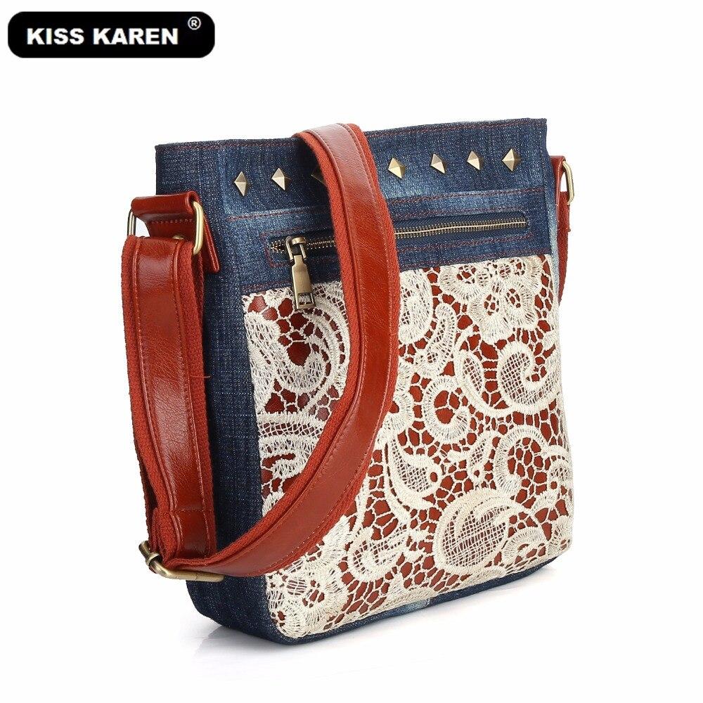 KISS KAREN Floral Lace Women Messenger Bag Vintage Fashion Studded Denim Bag Women's Shoulder Bags Summer Jeans Crossbody Bags