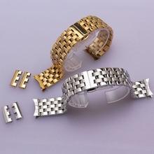 16 мм 18 мм 20 мм 22 мм 24 мм Серебро Золото Нержавеющая Сталь металлический Ремешок Браслеты Смотреть Band для мужчины женщины наручные часы мода изогнутые