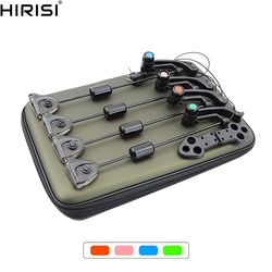 Carp Fishing Swingers Set in Case Illuminated drop off Indicators Led 4pcs colors in zipped protection fishing case