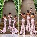 2017 Sweet Pink Bridesmaid Dresses Spaghetti Straps Open Back vestido madrinha Lace Appliques Sweep Train Bridal Dress