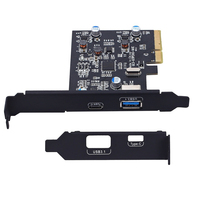PCI E PCI Express to USB 3.1 Gen2 10Gbps Hub Type A and Type C 2 Port PCIe Expansion Adapter Card For Windows 7/8/8.1/10/Linux