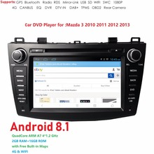 Hizpo Android8.1 2Din 8inch Car DVD Multimedia Player For Mazda 3 2010 2011 2012 2013 Quad-Core 4G1024*600 GPS Wifi DAB+TPMS SWC