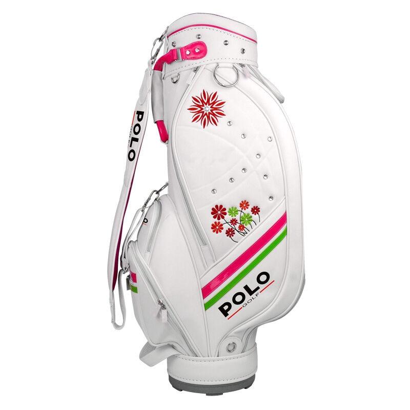 POLO femmes sac de Golf Standard balle paquet sac en cuir synthétique polyuréthane femme blanc exquis broderie de haute qualité véritable